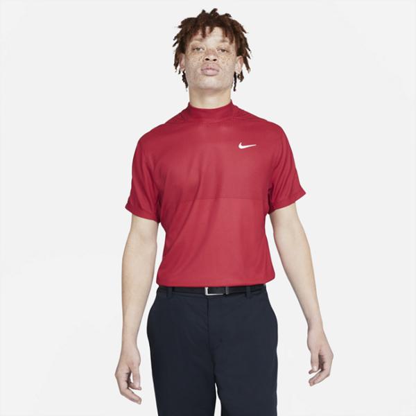 Kortærmet Nike Dri-FIT Tiger Woods-golftrøje med høj hals til mænd - Rød