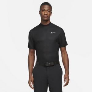 Kortærmet Nike Dri-FIT Tiger Woods-golftrøje med høj hals til mænd - Sort